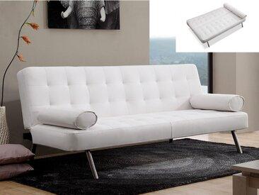 Canapé clic-clac MICHELLE en simili - Blanc