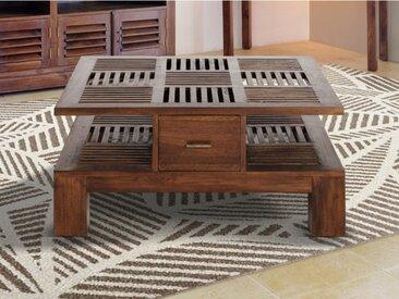 Table basse carrée BALI - 2 tiroirs - Teck massif