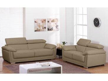 Canapé 3+2 places en cuir MISHKA - Beige