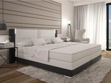 Ensemble boxspring complet tête de lit avec Leds + sommiers + matelas + surmatelas ASTI de DREAMEA - 160x200cm - simili - Noir et blanc