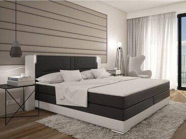 Ensemble boxspring complet tête de lit avec Leds + sommiers + matelas + surmatelas ASTI de DREAMEA - 160x200cm - simili - Blanc et gris