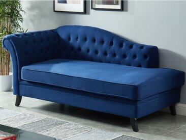 Méridienne gauche en coton et lin DIPLOMATIE - Bleu nuit