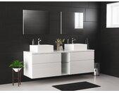 Ensemble de salle de bain suspendu avec double vasque et miroirs  - MAGDALENA  - blanc