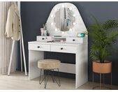 Coiffeuse GABRIELA - Miroir à LEDs et rangements - Blanc