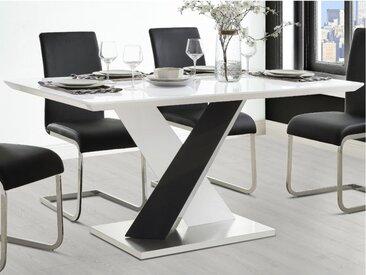 Table à manger SALVA - 6 couverts - MDF laqué - Blanc et noir