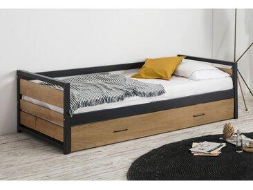 Lit gigogne industriel BOSTON - 2x90x190cm - MDF, Pin et métal - Coloris : Noyer et anthracite