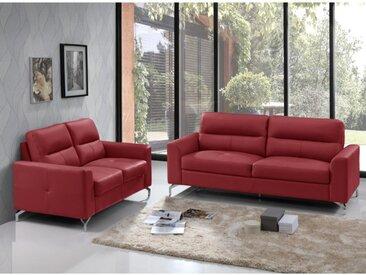 Canapé 3+2 places en cuir de buffle EDORI - Rouge