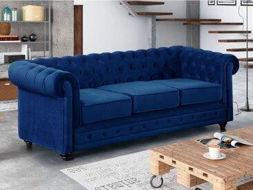 Canapé 3 places CHESTERFIELD - Velours bleu roi