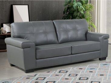 Canapé 3 places en cuir HAZEL - Gris