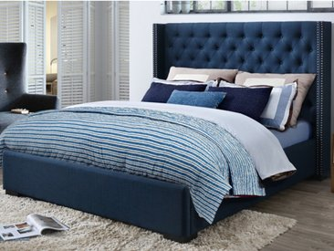Lit MASSIMO tête de lit capitonnée - 160x200cm - Tissu bleu