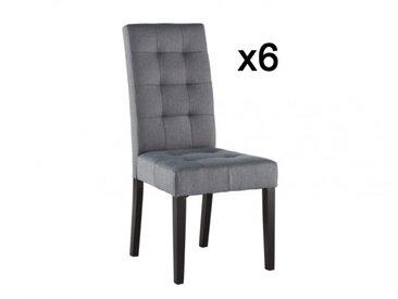 Lot de 6 chaises VILLOSA - Tissu gris & Pieds bois foncé