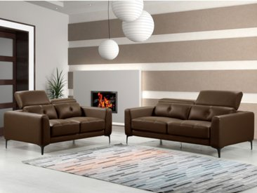 Canapé 3+2 places en cuir JASPER - Marron