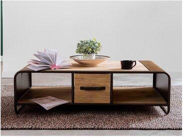 Table basse CHICAGO - 2 tiroirs et 2 niches - Acacia et métal