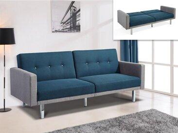 Canapé 3 places convertible en tissu CALDER - Bleu et bords gris clair