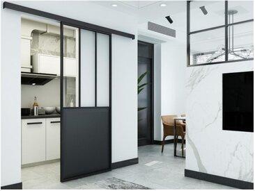 Porte coulissante atelier en applique ARTISTO - H205cm x L83cm - MDF noir