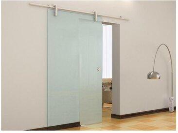 Porte coulissante en applique CLEAVER - H205 x L83 cm - Verre trempé