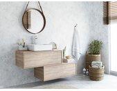 Meuble de salle de bain suspendu simple vasque TEANA avec deux tiroirs - couleur chêne