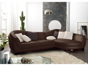 Canapé d'angle cuir de buffle 5 places CAPRI II - Marron - Angle droit