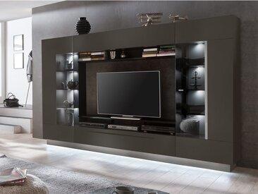 Mur TV BLAKE avec rangements - LEDs - MDF laqué anthracite