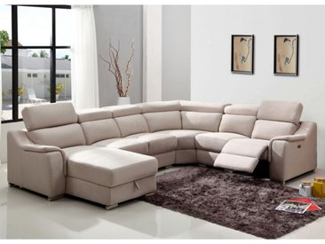 Canapé d'angle panoramique relax électrique AMADORA en tissu - Beige - Angle gauche