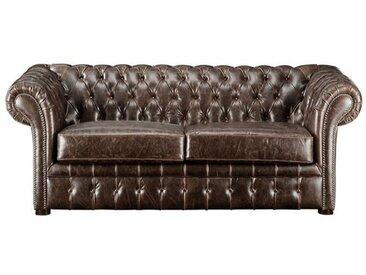 Canapé 2 places chesterfield CLOTAIRE 100% cuir vieilli