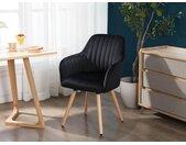 Chaise avec accoudoirs ELEANA - Velours & Métal Noir - Noir