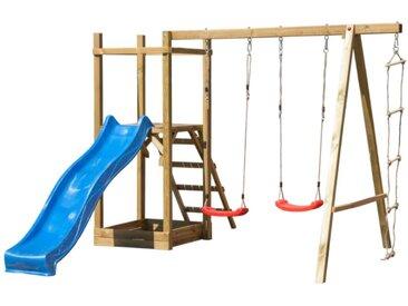 Aire de jeux en bois avec toboggan, 2 balançoires, échelle et bac à sable IRATY - L320xP350xH210 cm