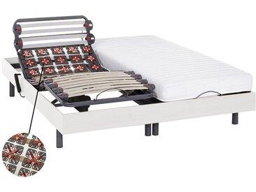 Lit électrique relaxation lattes et plots matelas latex PANDORA II de DREAMEA - moteurs OKIN - blanc - 2x80x200cm