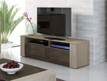 Meuble TV SUMAI - 2 tiroirs & 2 niches - Coloris chêne & marron