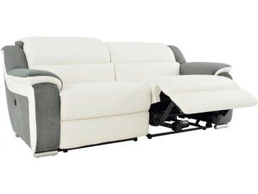 Canapé 3 places relax électrique en cuir et microfibre ARENA II - Blanc/gris