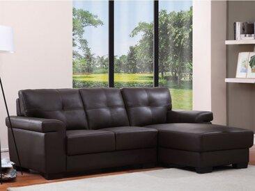 Canapé d'angle en cuir HAZEL - Marron - Angle droit