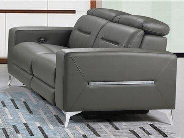Canapé 2 places relax électrique PAULY en cuir - Anthracite