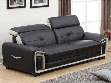Canapé 3 places en cuir MAYA - Noir et liseré gris