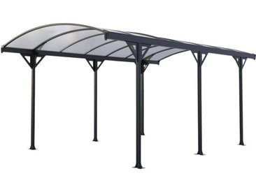 Carport en aluminium autoportant gris GENARO - 15,3 m²