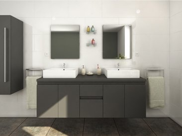 Meubles de salle de bain LAVITA II suspendus avec double vasque et miroirs - Gris