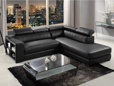 Canapé d'angle cuir LEEDS - Noir - Angle droit