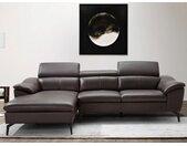 Canapé d'angle en cuir BERGAMO - Marron - Angle gauche