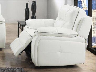 Fauteuil relax électrique en cuir CATANE - Blanc et passepoil gris