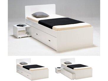 Lit avec chevet et tiroir PACOME - 90 x 190 cm - Laqué blanc
