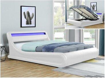 Lit coffre IRIS - 160x200cm - Simili blanc avec LEDs