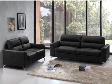 Canapé 3+2 places en cuir de buffle EDORI - Noir