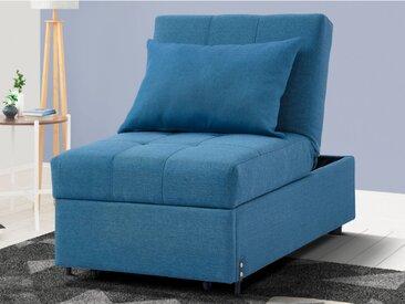 Fauteuil convertible en tissu LESNA - Bleu
