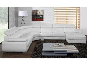 Canapé panoramique 7 places en cuir ELEVANTO - Blanc - Angle droit