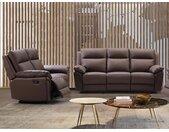 Canapé 3+2 places relax en cuir de buffle PAKITA - Marron