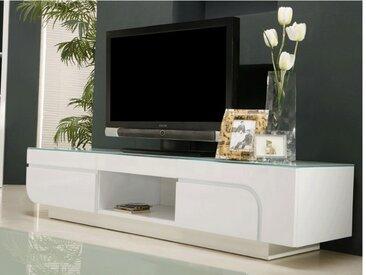 Meuble TV BRADY - MDF laqué blanc & verre trempé - 2 portes & 1 niche