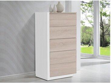 Chiffonnier NAPOLI - 5 tiroirs - Chêne et blanc