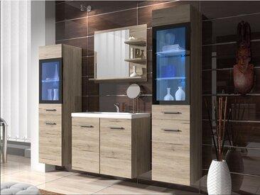 Ensemble LAURINE à leds - meubles de salle de bain - chêne
