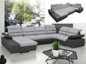 Canapé d'angle panoramique convertible en tissu et simili BOILEAU - Bicolore gris/anthracite - Angle gauche