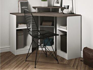Bureau d'angle avec étagères FIDUCIA - Coloris blanc & béton