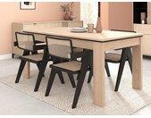 Table à manger extensible RISLANE - 6 à 8 couverts - Coloris : Chêne & noir
